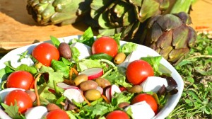 salad with olives in brine